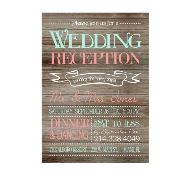 Rustic Wedding Reception Only Invitation On Wooden Background