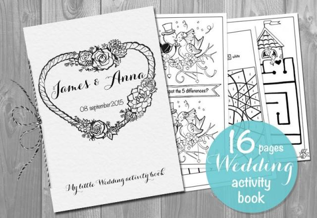 kids wedding activity book printable personalized booklet pdf pages template children 39 s. Black Bedroom Furniture Sets. Home Design Ideas