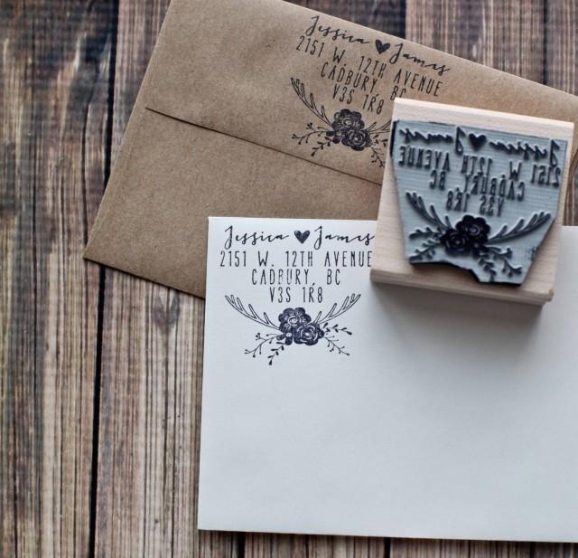 Rustic Wedding Stamp, Deer Antler Return Address Stamp
