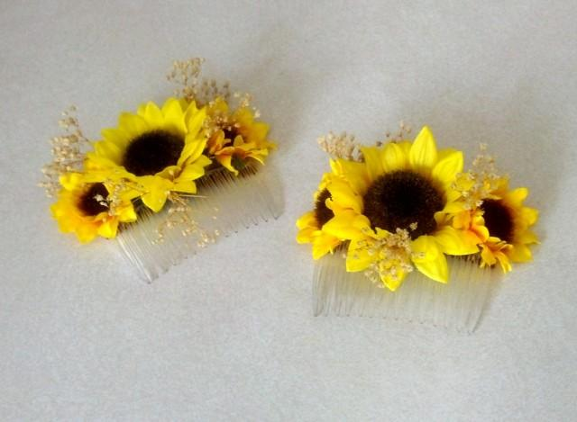 Sunflower Wedding Hair Accessory Bridal Hairpiece Comb Summer