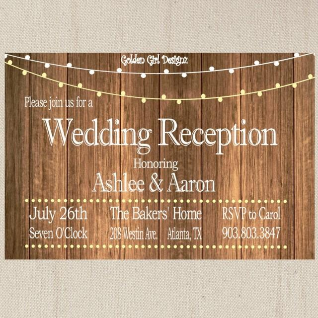 Vintage Lights Wedding Reception Invitation On Wooden Background Only Rustic Print Your Own 2472202