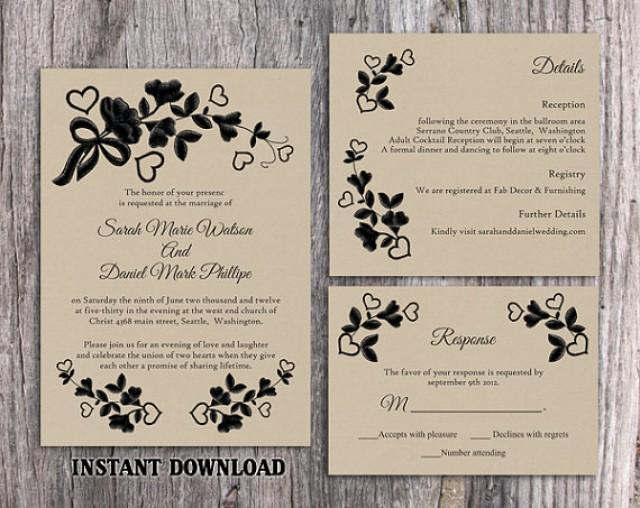 Wedding Invitations Template Word: DIY Lace Wedding Invitation Template Set Editable Word