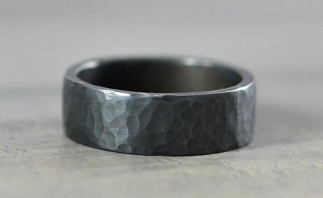 Sterling Silver Mens Wedding Bands Hammered Ring 7mm