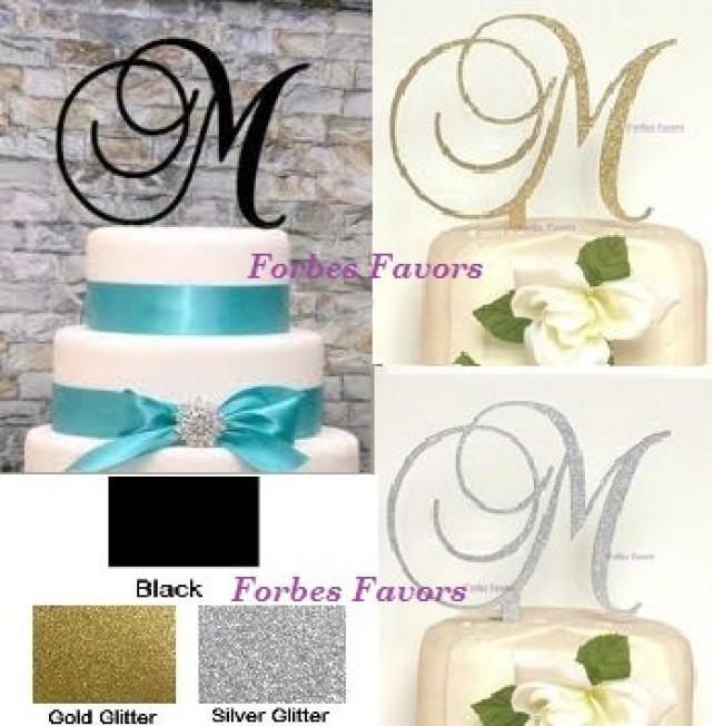 Monogram Letter Acrylic Cake Topper Wedding Engagement Black