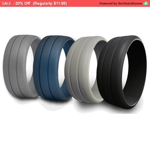 Mens Rubber Silicone Wedding Ring Band Ridged Best Quality