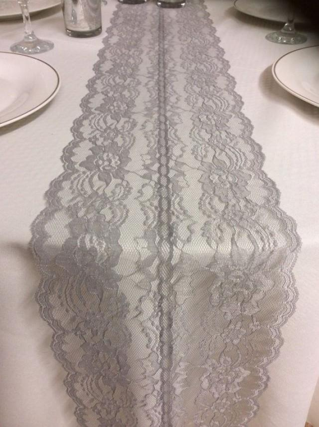 Grey Weddings Lace Table Runner 3ft 10ft Long X 8in Wide