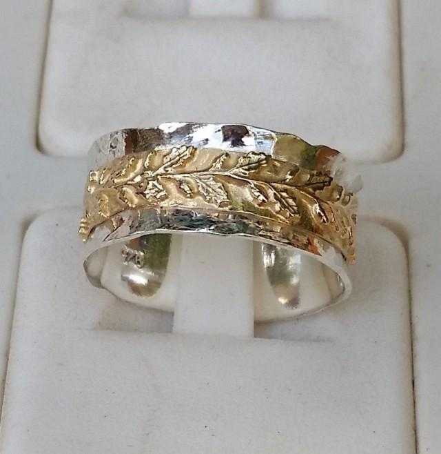 Silver And Gold Wedding Ring Sterling 925 14K Band Handmade Artisan Crafted Leavs Texture Women Size 8 Free Shipping 2473739