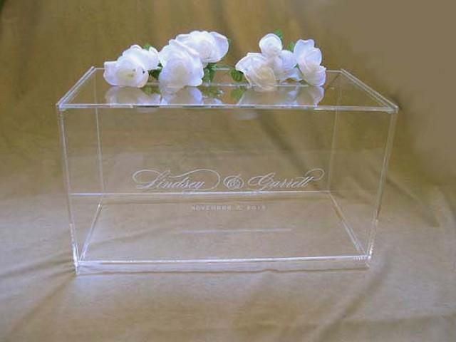 Wedding Gift Collection Boxes: Custom Engraved Wedding Card Box, Gift Card Box With
