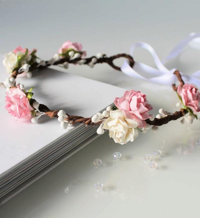 Wedding White Flower Crown: Pink Floral Crown, Pale Pink And White Rose Flower Crown