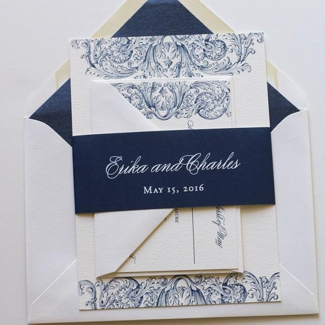 Navy Wedding Invitation, Whimsical Wedding Invitation