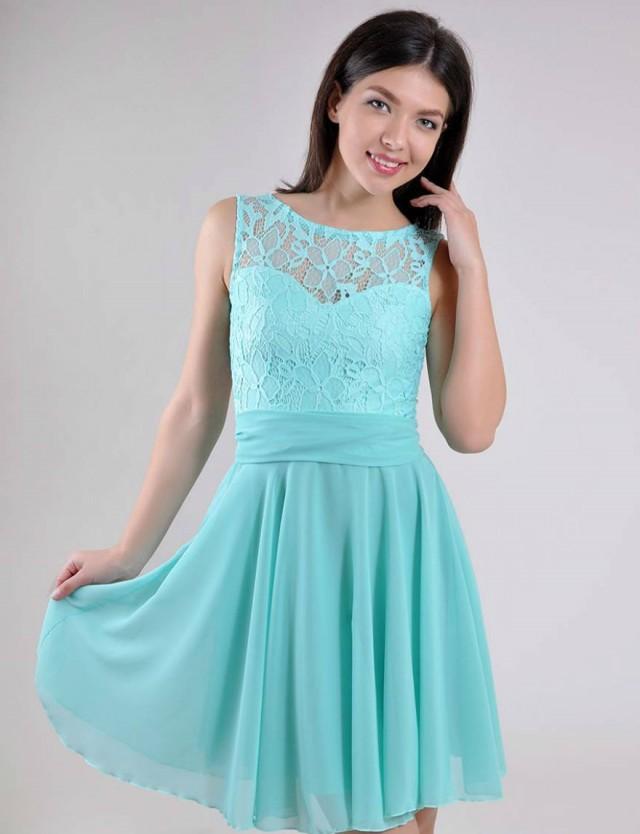 Turquoise Wedding Dress Lace Short Bridesmaid Dress Turquoise ...