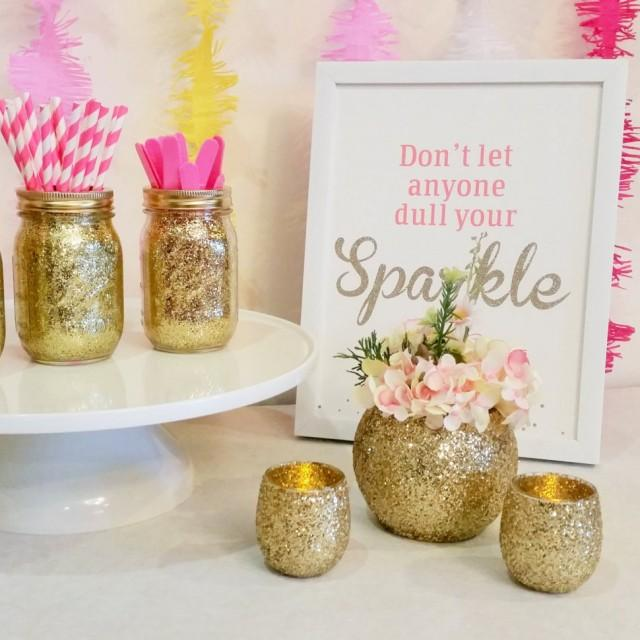 Wedding centerpieces gold wedding decor baby shower for Baby shower decoration set