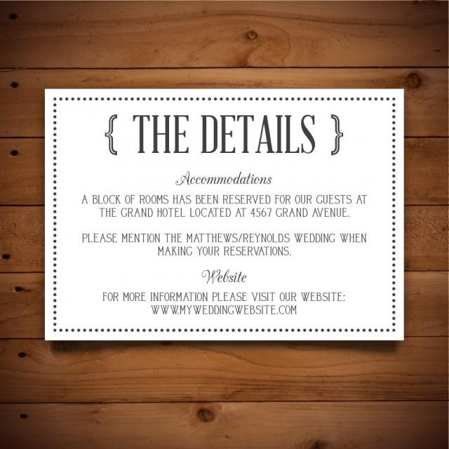 printable vintage wedding information card template - dark grey  u0026 white