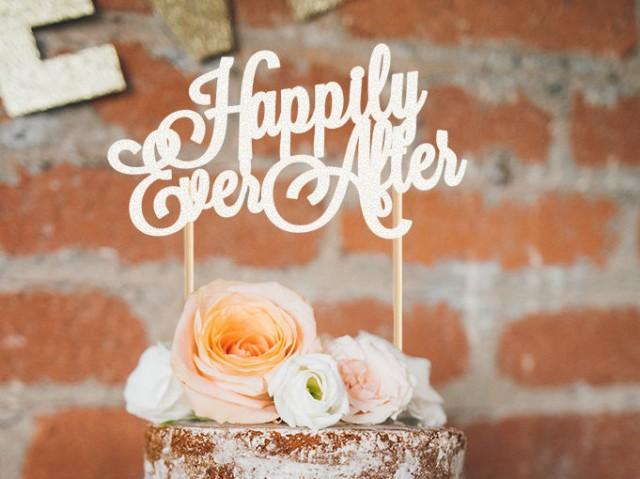 Happily Ever After Wooden Cake Topper
