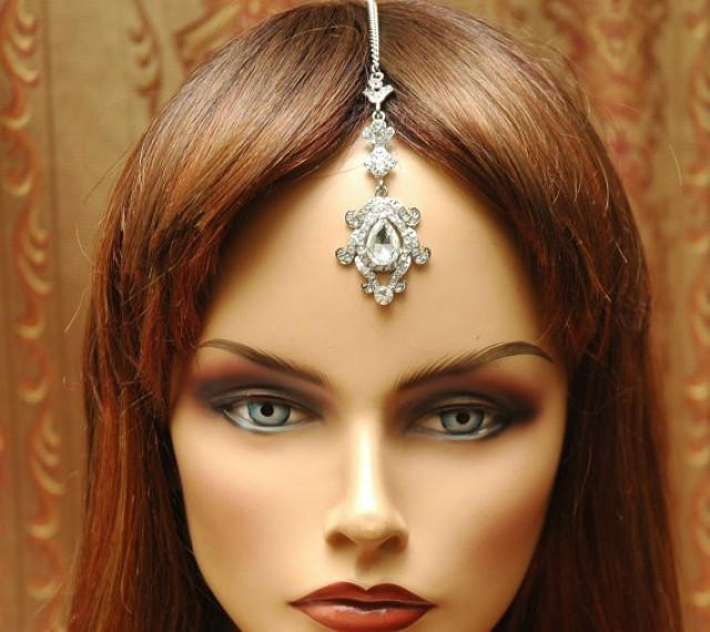 Hair Chain Accessory Bridal Headpiece Tikka Crystal Head Bollywood Gypsy Jewelry Tribal Jewel 2477056