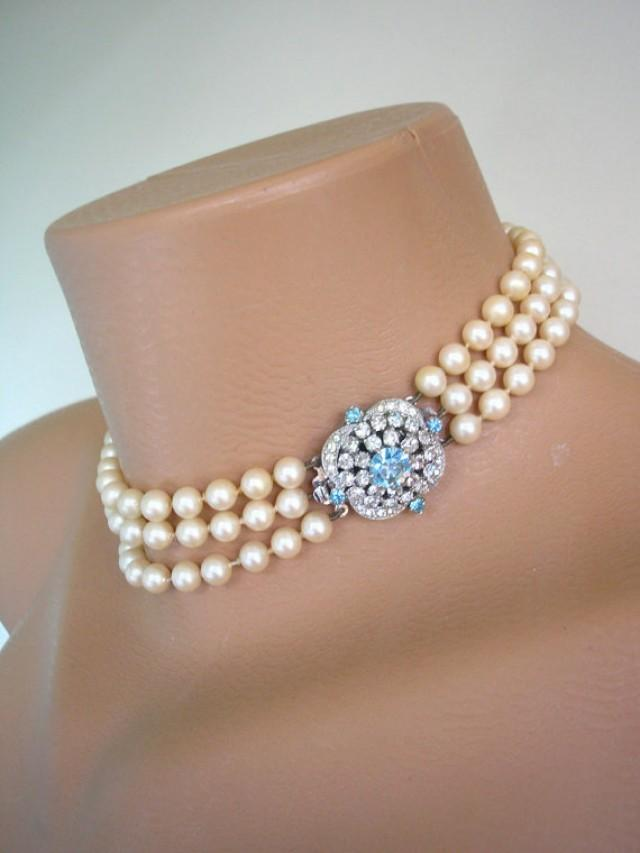Aquamarine Jewelry Aquamarine Necklace Pearl Choker