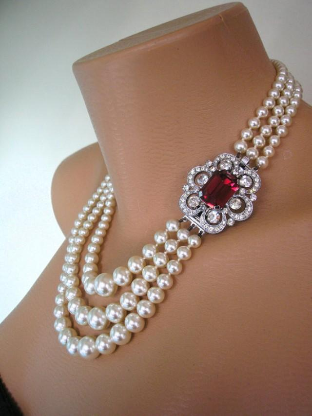 Pearl And Ruby Necklace Choker Mother Of The Bride Bridal Jewelry Great Gatsby 3 Strand Wedding Deco 2477077