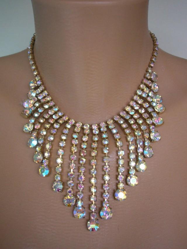 Aurora Borealis Necklace Statement Necklace Great Gatsby