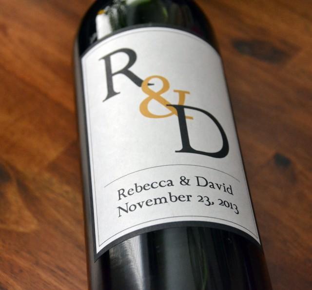 Monogram Wine Labels Wedding Wine Label Custom Personalized