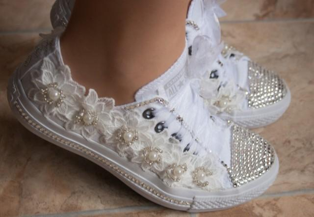 wedding converse trainers with crystals lace pearls wedding trainers wedding converse. Black Bedroom Furniture Sets. Home Design Ideas
