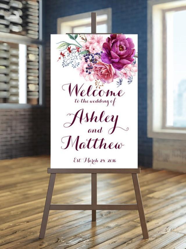 Printable Wedding Sign, Welcome Wedding Sign, Floral Wedding Sign ...