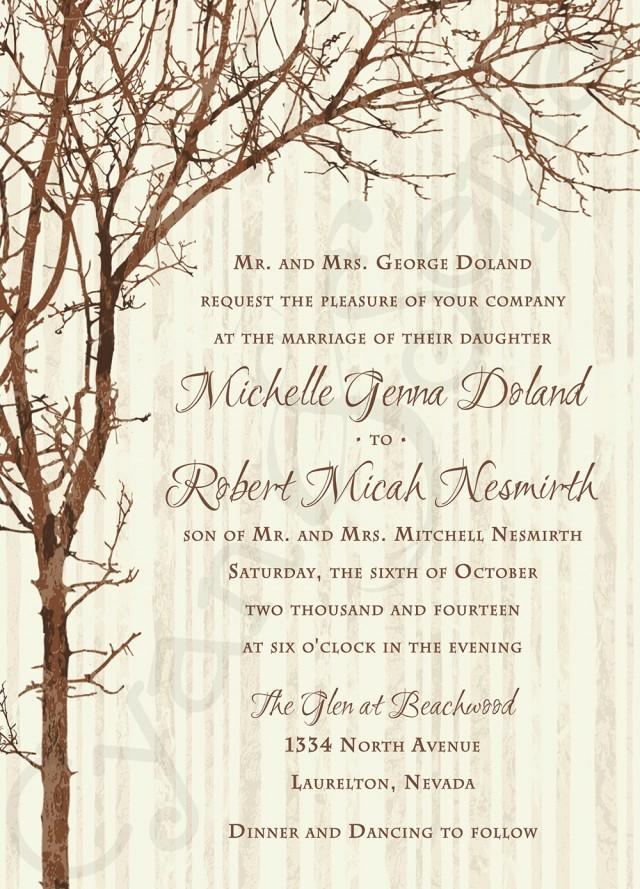 Printable Wedding Invitation 5x7 Tree And Branches