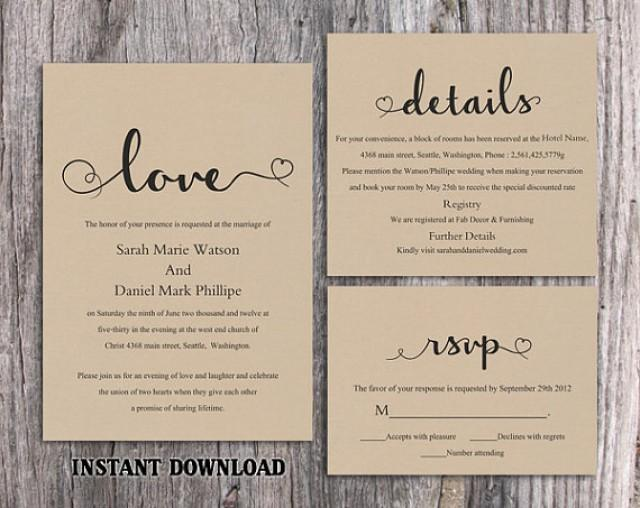 Burlap Wedding Invitations Diy: DIY Burlap Wedding Invitation Template Set Editable Word