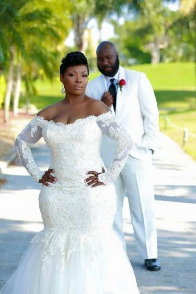 Long sleeve wedding dresses mermaid plus size applique for Fitted wedding dresses for plus size