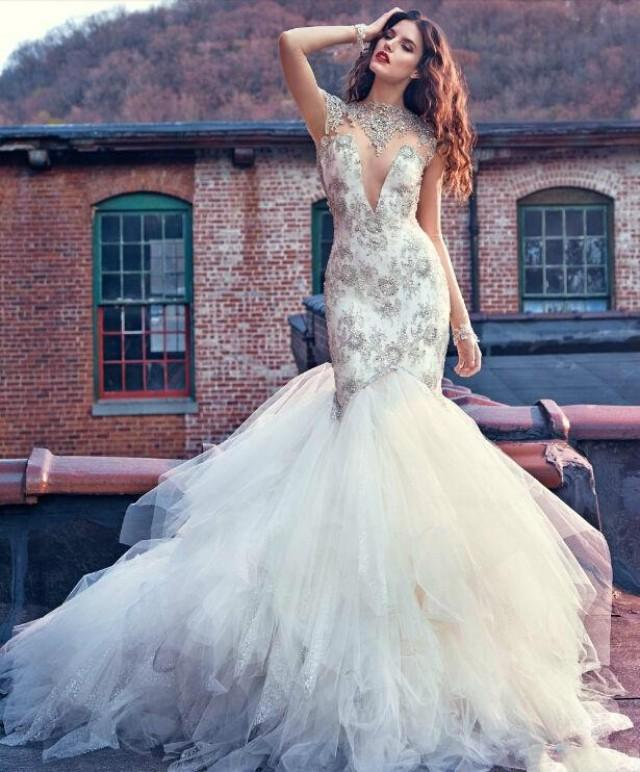 Sexy Galia Lahav Beads Sheer Mermaid Wedding Dresses Bling Sequins Backless Applique Lace 2016 Bridal Gowns Chapel Train Tulle Online With 11938 Piece On