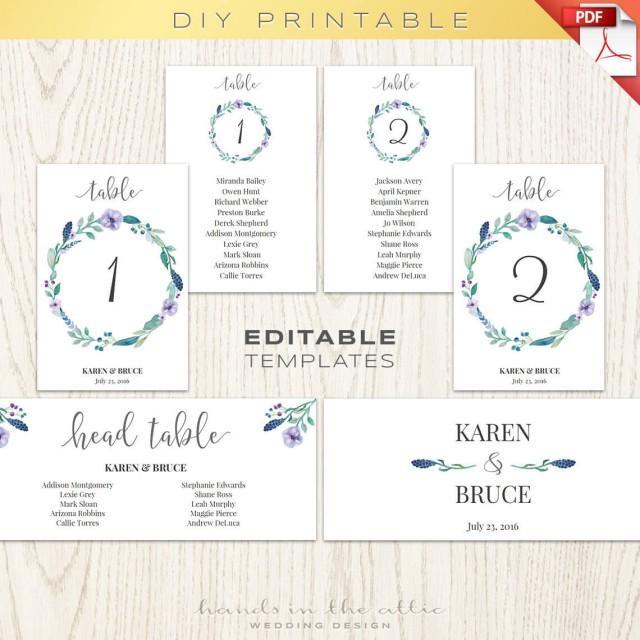 Floral Wedding Table Numbers Printable Template, Seating