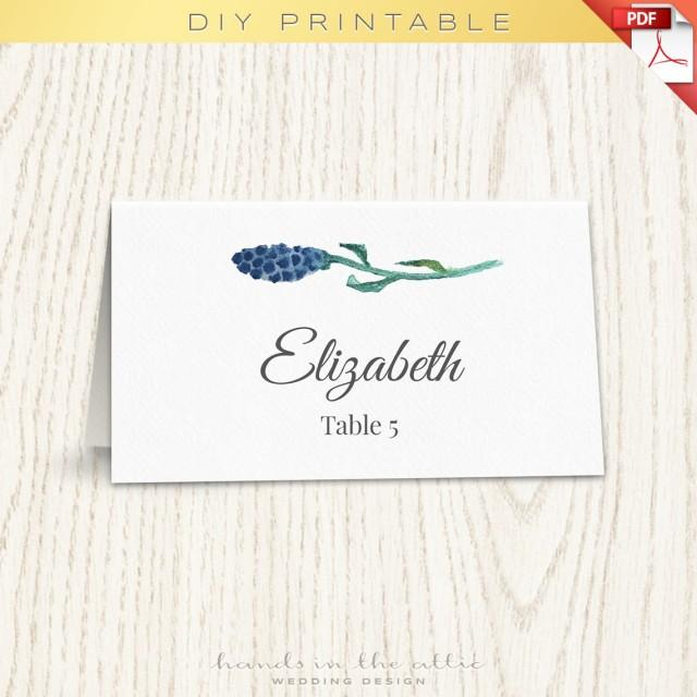 Floral wedding placecard template printable escort cards for Templates for place cards for weddings