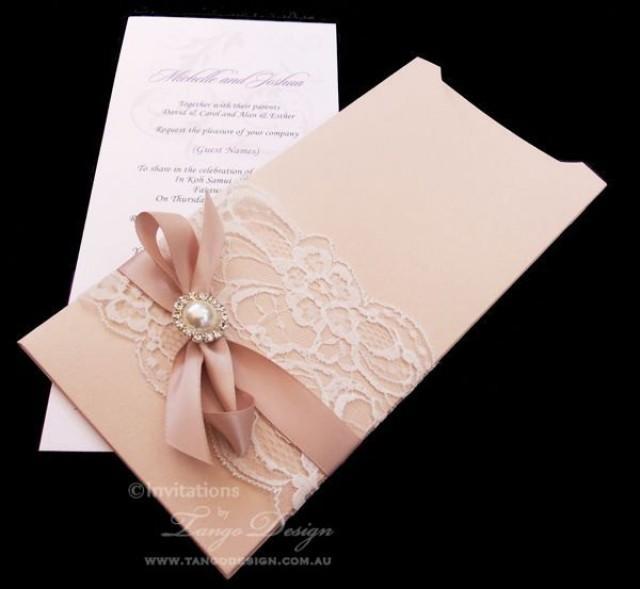 Sparkle Wedding Invitation And Envelope Vintage Lace