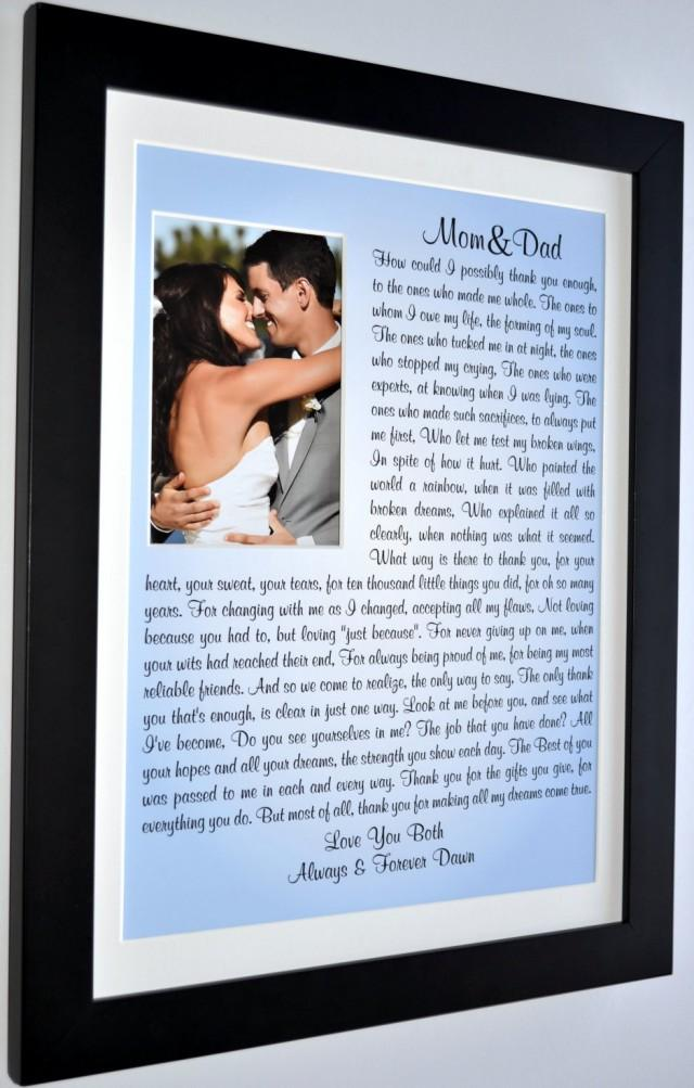 the gift of parents Find the perfect personalized gift to show your parents how much they mean to you just add your loving words to create an unforgettable gift at your wedding.