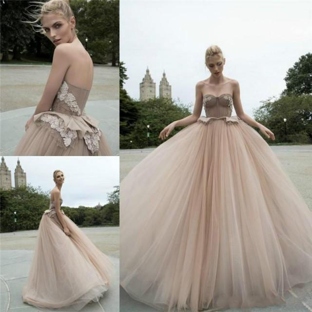 Champagne Ball Gown Wedding Dresses: Charming Champagne Wedding Dresses Color 2016 Sweetheart