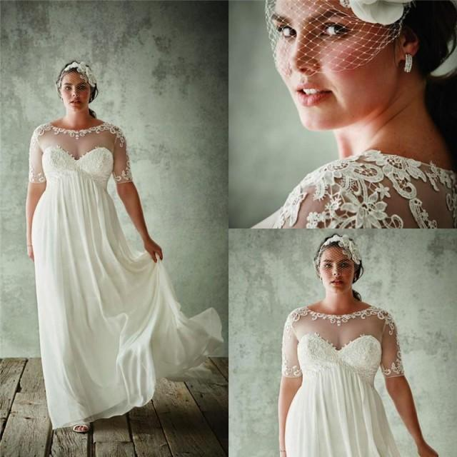 Simple Style Garden Chiffon Wedding Dresses 2016 Short Sleeve Plus Size Applique Sheer Bridal Ball Gowns Custom Floor Length Online With 93 46 Piece On Hjklp88 S Store 2478617 Weddbook