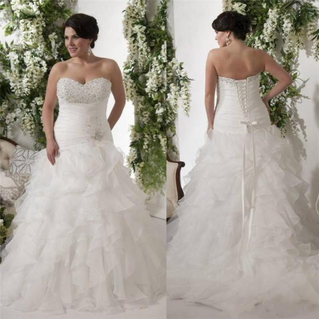 fabf99b76c0b2 Elegant Beads Wedding Dresses With Ruffle Crystal Sequins Organza 2016  Sweetheart Plus Size Sweep Train Bridal