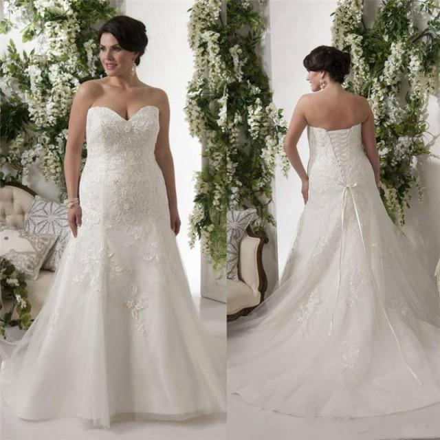 Elegant Plus Size Wedding Dresses Bodice Applique Lace