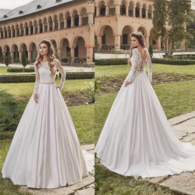 Vintage Illusion Lace 2016 Fall Wedding Dresses Satin