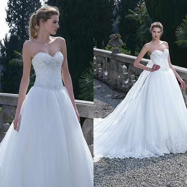 Crystal Bodice Wedding Gown: Stunning White Wedding Dresses With Beads Crystal Applique
