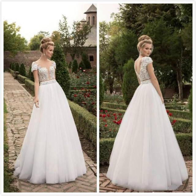 Simple Garden Wedding Dresses With Cap Sleeves Lace Floor