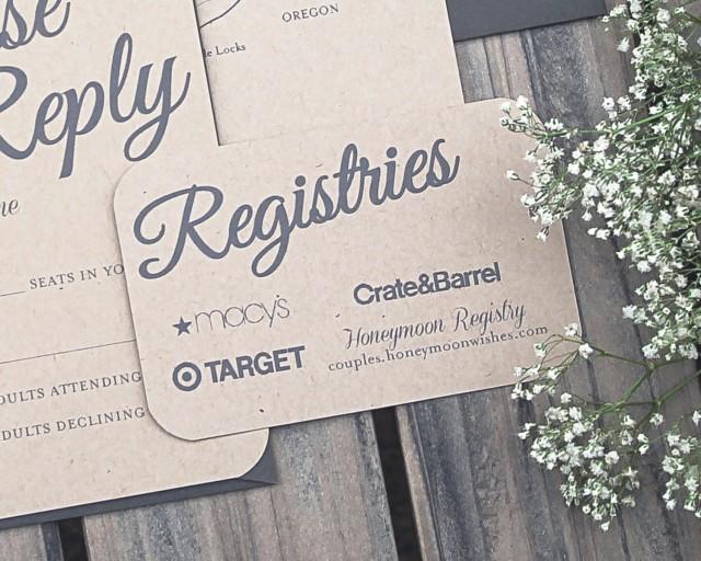 Wedding Invitation Registry Wording: Set Of Rustic Paper Bag And Gray Elegant Modern Wedding