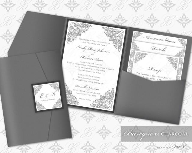 image about Printable Folder known as Printable Pocket Folder Invitation Electronic Template #2478705