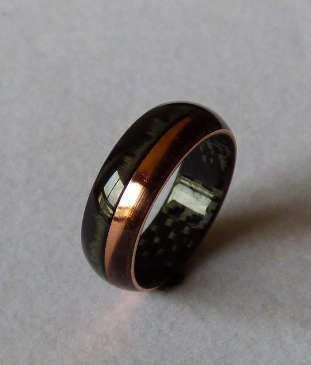 Carbon Fiber Diamontrigue Jewelry: Carbonfiber & Copper Ring Wedding Band #2478817