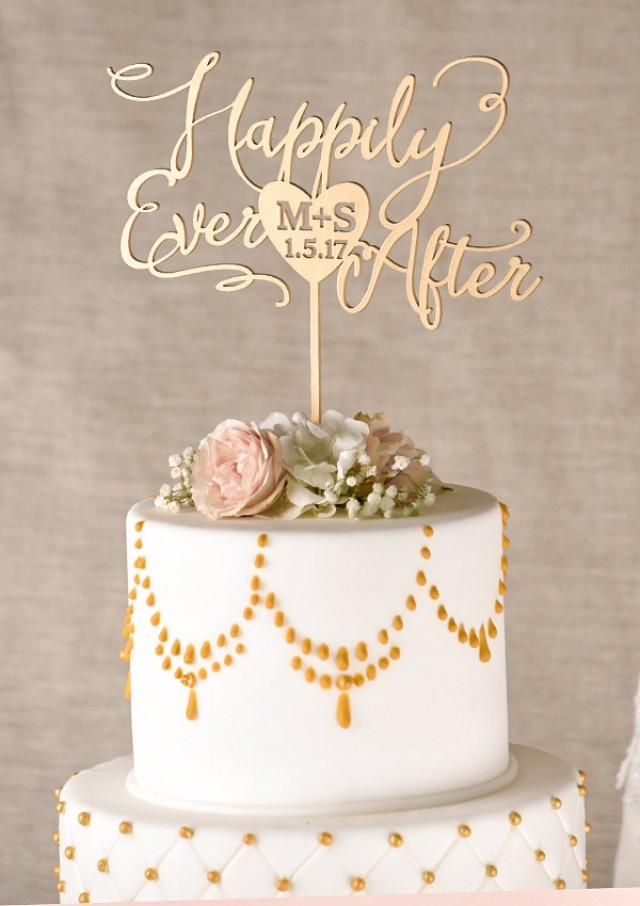 gold cake topper  golden wedding cake topper  happily ever after cake topper  custom cake topper