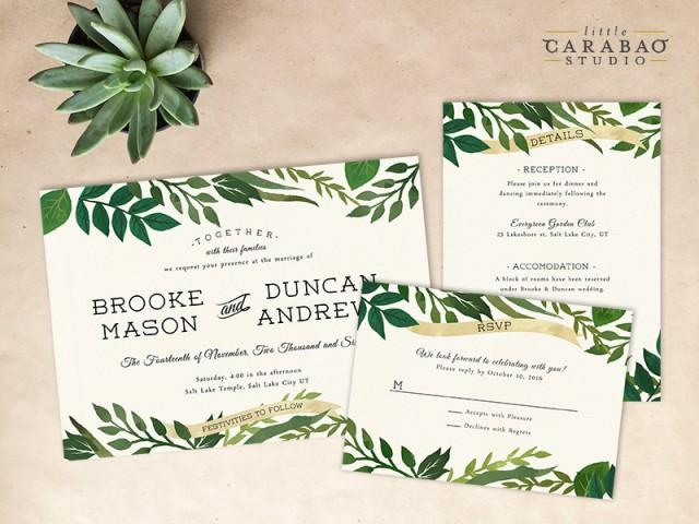 Digital Wedding Invitation Ideas: DIGITAL Wedding Invitation Set PRINTABLE Botanical Wedding
