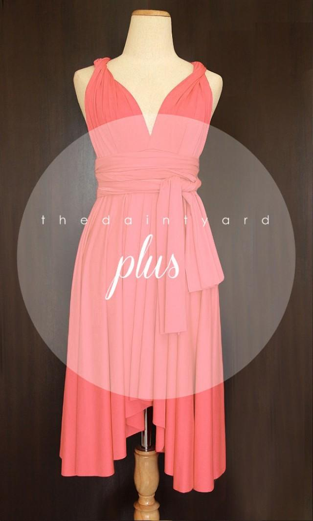Plus Size Coral Bridesmaid Dress Convertible Dress