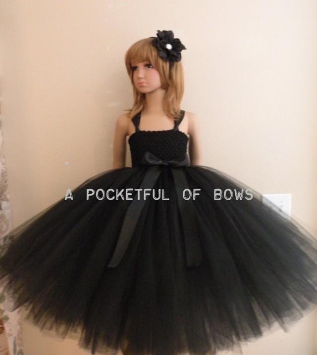 black flower girl tutu dress toddler formal dresses long