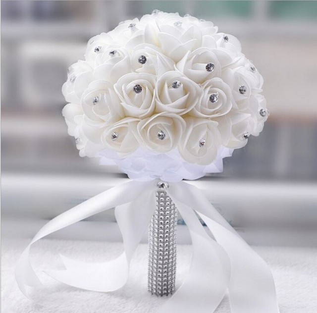 Crystal Ford Picture More Detailed About 2017 White Ivory Rose Et Blanc Wedding Bouquet Bridesmaid Artificial Flower