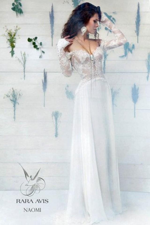 Long Sleeve Wedding Dress NAOMI Simple Beach Lace Bohemian 2480756