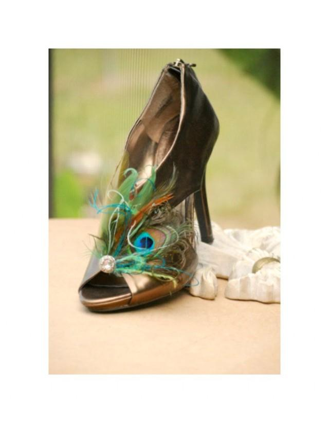Wedding Peacock Shoe Clips Custom Made Colors Turquoise